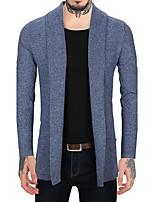 Men's Casual/Daily Work Vintage Simple Regular Cardigan,Color Block Round Neck Long Sleeves Wool Faux Fur Cotton Fall Winter Medium
