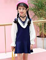 Vestido Chica de A Rayas Retazos Rayón Poliéster Manga Larga Primavera Otoño