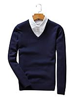 Для мужчин На каждый день Офис Большие размеры Винтаж Простое Уличный стиль Обычный Пуловер Однотонный Полоски Контрастных цветов,