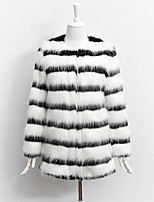 Women's Party Plus Size Casual/Daily Cute Street chic Sophisticated Winter Fur Coat,Striped Round Neck Long Sleeve Regular Faux Fur
