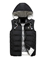 Men's Regular Down Coat,Simple Casual/Daily Solid Striped-Polyester Polypropylene Sleeveless