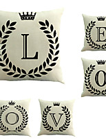 5 штук Хлопок/Лён Наволочка Наволочки,Цитаты и выражения Мода Буквы Ретро Традиционный/классический Евро