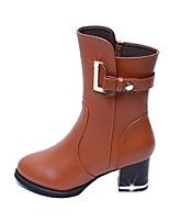 Для женщин Ботинки Модная обувь Дерматин Зима Повседневные Для праздника Пряжки Молнии На толстом каблуке Черный Коричневый 4,5 - 7 см