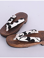 Women's Clogs & Mules Clogs Spring Fall Cotton Fabric Casual Black/White Under 1in