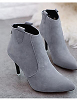 Women's Boots Basic Pump Fashion Boots Spring Winter Real Leather Casual Black Gray Khaki 4in-4 3/4in
