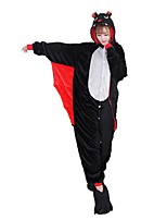 Kigurumi Pajamas Bat Festival/Holiday Animal Sleepwear Halloween Fashion Embroidered Flannel Fabric Cosplay Costumes Shoes Kigurumi For With Shoes