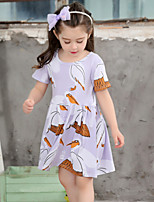 Girl's Cotton Fashion And Lovely Temperamental Gauze Cartoon red Top Crane Printed Short Sleeves Princess Dress
