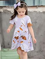 Vestido Chica de Un Color Algodón Manga Corta Verano