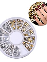 PINPAI Boxed Silver Rivet Shaped Drill Nail Metal Sticker Patch Quantity Nail Art Sticker Type Style Makeup Cosmetic Nail Art Design