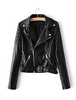Для женщин Спорт На выход На каждый день Осень Зима Кожаные куртки Лацкан с тупым углом,Простой Однотонный Обычная Длинный рукав,Другое