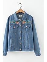 Feminino Jaqueta jeans Esportes Para Noite Casual Simples Activo Moda de Rua Primavera Outono,Estampado Padrão Algodão PoliésterColarinho