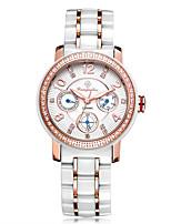 Mujer Reloj de Vestir Reloj de Moda Chino Cuarzo Esfera Grande Rosa Oro Plateado Cerámica Banda Destello Blanco Marrón Oro Rosa