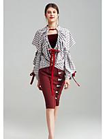 Damen Geometrisch Einfarbig Einfach Lässig/Alltäglich T-shirt,V-Ausschnitt Langarm Elasthan