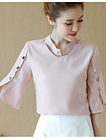 Women's Casual/Daily Simple Summer Blouse,Solid Round Neck Half Sleeve Others