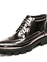 Men's Oxfords Comfort Spring Fall Patent Leather Leatherette Casual Party & Evening Flower Flat Heel Silver Black Gold Under 1in
