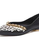 Для женщин На плокой подошве Удобная обувь Лето Полиуретан Повседневные Стразы На плоской подошве Черный Миндальный 4,5 - 7 см