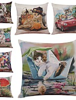 Set of 7 Color Cartoon Cat Linen  Cushion Cover Home Office Sofa Square  Pillow Case Decorative Cushion Covers Pillowcases