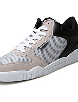 Men's Sneakers Light Soles Spring Fall Tulle PU Casual Lace-up Flat Heel Black Gray Blue Flat