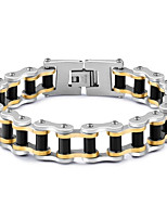 Men's Chain Bracelet AAA Cubic Zirconia Fashion Punk Hip-Hop Rock Gothic Cubic Zirconia Titanium Steel Gold Plated Circle Star Geometric