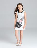 Girl's Print Dress,Polyester Fall Sleeveless