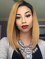 Black Root Lace Front Human Hair Wigs Straight with Baby Hair 130% Density Brazilian Virgin Hair Short Bob Wig for Woman