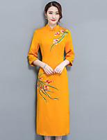 Для женщин На выход Большие размеры Уличный стиль Оболочка Платье Цветочный принт,Вырез под горло Средней длины Рукав 3/4 Полиэстер Осень