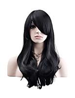 Femme Perruque Synthétique Sans bonnet Mi Longue Ondulation Naturelle Noir Perruque Naturelle Perruque Déguisement