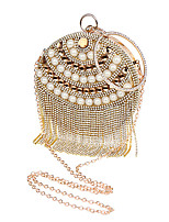 Women Bags All Seasons Polyester Evening Bag with Rhinestone Crystal Pearl Detailing for Wedding Event/Party Formal Blue Gold Silver Red