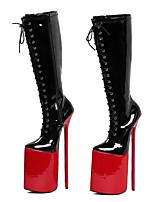 Feminino Botas Botas da Moda Courino Outono Inverno Festas & Noite Ziper Cadarço Salto Agulha Preto Vermelho 12 cm ou mais