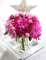 1 Branch Plastic Peonies Plants Tabletop Flower Artificial Flowers Home Decoration Wedding Supplies Bridal Bouquet