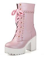 Для женщин Ботинки Удобная обувь Осень Зима Полиуретан Повседневные Белый Черный Розовый 9,5 - 12 см