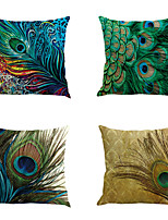 Set Of 4 Novelty Peacock Feathers Pillow Cover Vintage Gorgeous Pillow Case