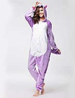 Kigurumi Pajamas Purple Pegasus Onesie Shoes Festival/Holiday Animal Sleepwear Halloween Fashion Embroidered Flannel Fabric With shoes