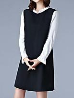Для женщин На каждый день Большие размеры Простое Свободный силуэт Платье Однотонный,Круглый вырез Выше колена Длинный рукав Полиэстер