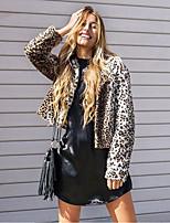 Для женщин На каждый день Зима Пальто с мехом Круглый вырез,Простой Леопард Короткая Длинный рукав,Искусственный мех