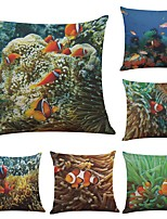 Set of 6 Tropical Sea Clownfish Linen Cushion Cover Home Office Sofa Square Pillow Case Decorative Cushion Covers Pillowcases (18*18Inch)