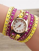 Жен. Модные часы Кварцевый Кожа Группа Черный Белый Синий Красный Коричневый Зеленый Розовый Фиолетовый Желтый