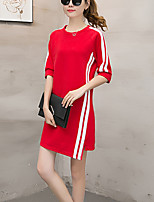 Women's Plus Size Casual/Daily Simple Loose Dress Color Block Round Neck Asymmetrical 3/4 Length Sleeve Cotton Polyester Spring Fall