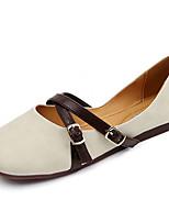 Для женщин На плокой подошве Удобная обувь Полиуретан Лето Повседневные Для прогулок Комбинация материалов На плоской подошвеБежевый
