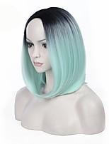 parte media ombre verde menta color bobo pelo recto europeo pelucas sintéticas para la peluca de las mujeres negras