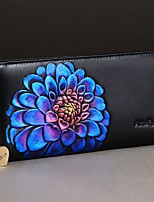 Women Clutch Cowhide All Seasons Casual Rectangle Zipper Purple Blue