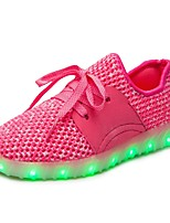 Girls' Athletic Shoes Light Up Shoes Comfort Net Fall Winter Athletic Casual Outdoor Walking Lace-up Flat HeelWhite/Silver Blushing Pink