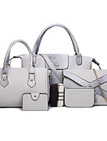 Women Bags All Seasons PU Bag Set with for Event/Party Casual Formal Outdoor Office & Career White Black Gray Deep Blue