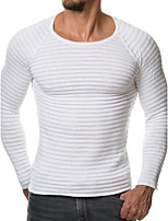 Men's Plus Size Going out Casual/Daily Sexy Simple Regular Pullover,Solid Round Neck Long Sleeves Faux Fur Spring Fall Medium Stretchy