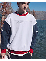 Men's Sports Going out Simple Sweatshirt Color Block Oversized Round Neck Micro-elastic Acrylic Long Sleeve Fall