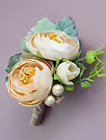 Wedding Flowers Grace Roses Boutonnieres Wedding / Special Occasion Satin / Bead / Fabric Corsage for The Bridegroom