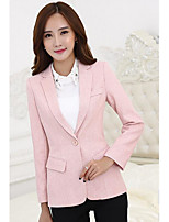 Women's Casual/Daily Work Simple Spring Fall Blazer,Solid Peter Pan Collar Long Sleeve Regular Cotton