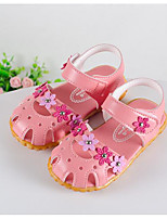 Girls' Sandals Comfort First Walkers Summer Leatherette Walking Shoes Casual Magic Tape Low Heel White Peach Blushing Pink Flat