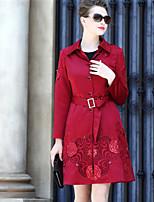 Feminino Casaco Casual Sofisticado Outono Inverno,Sólido Estampado Padrão Algodão Poliéster Colarinho de Camisa Manga Longa
