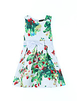 Girl's Print Dress,Linen Bamboo Fiber Acrylic All Seasons Sleeveless